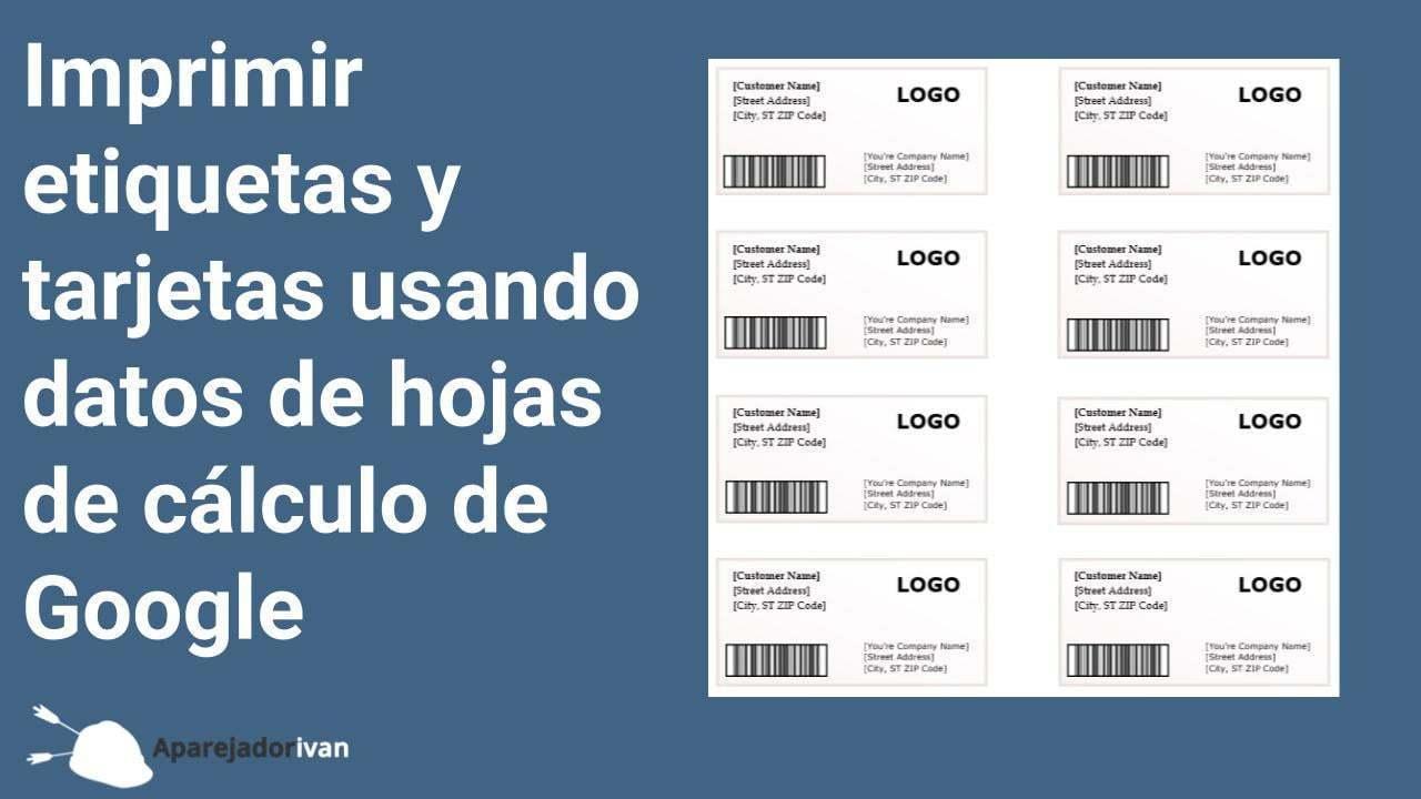 imprimir etiquetas con Google Hojas de Cálculo