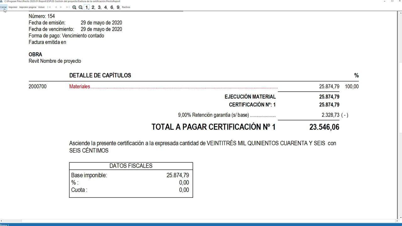 Aplicar retención de garantía a la factura de la certificación en Presto