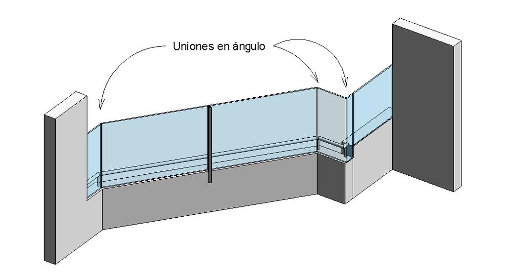 Barandilla de cristal hecha con Revit