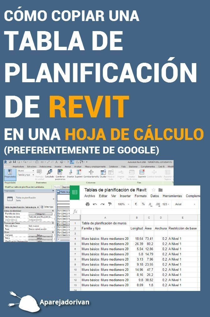 cómo copiar una tabla de planificación de revit en una hoja de cálculo-portada