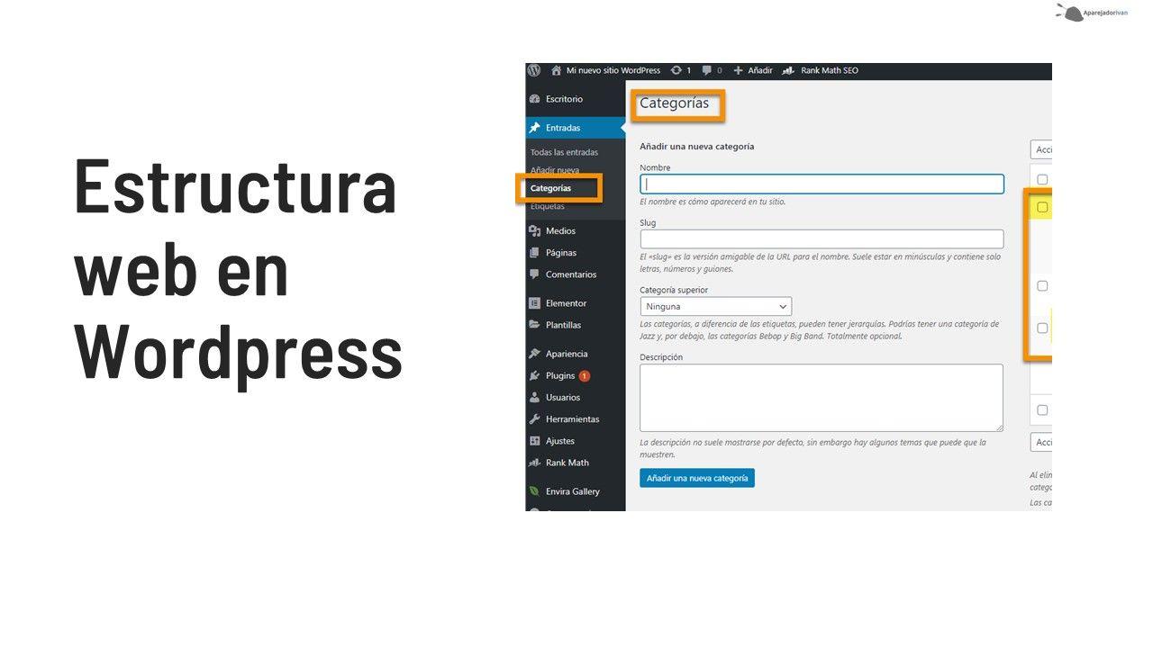 estructura web en wordpress para construccion y reformas