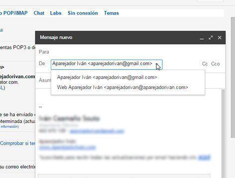 Elegir remitente en gmail