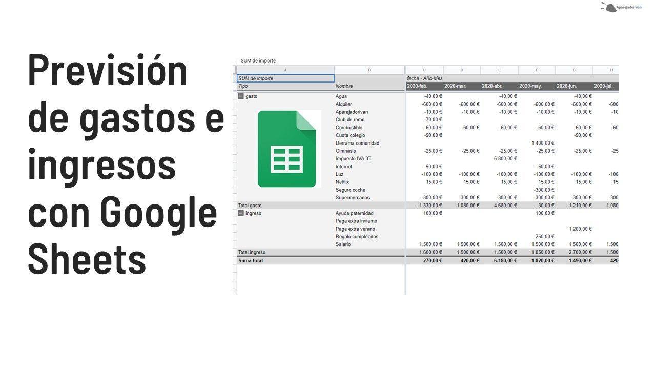 prevision de gastos e ingresos con google sheets