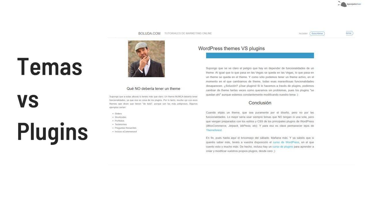 temas vs plugins wordpress